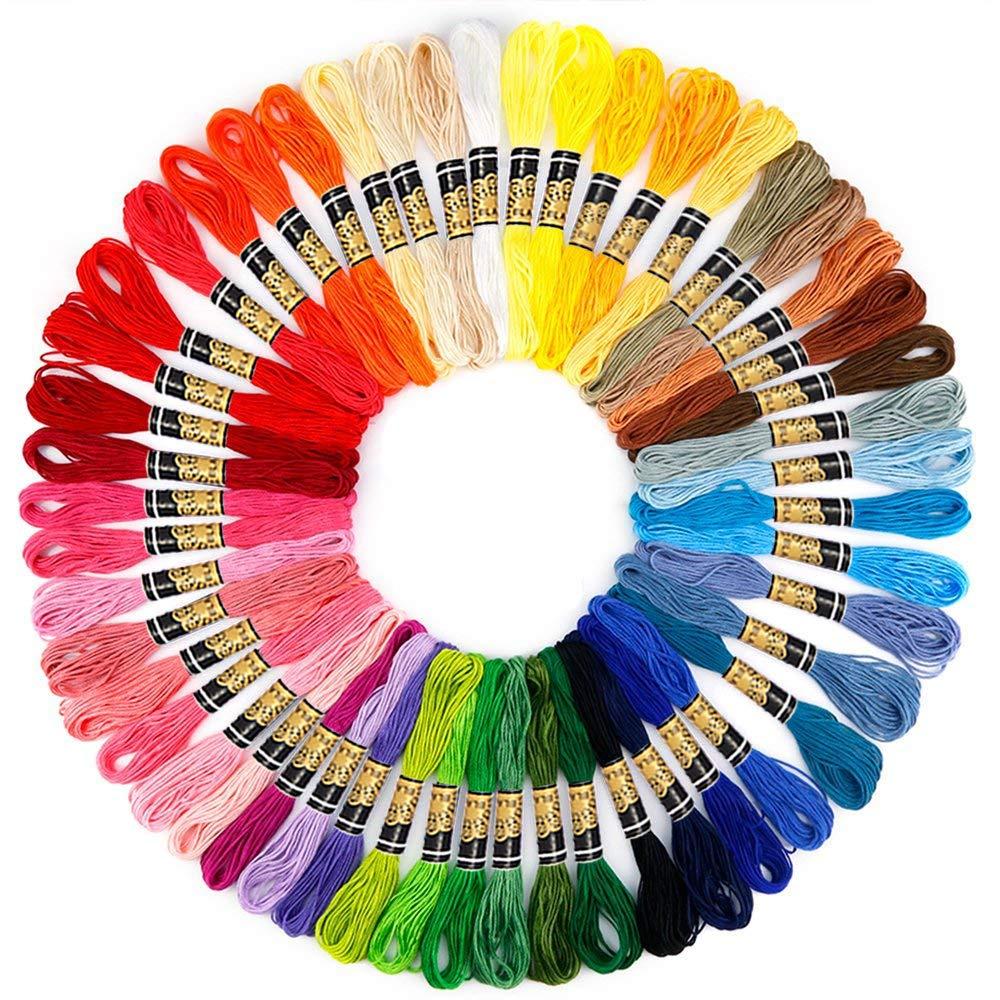 Hilos de bordado 50 Uds hilos de punto cruz multicolor hilo de algodón de poliéster hilo de bordado para accesorios de costura DIY