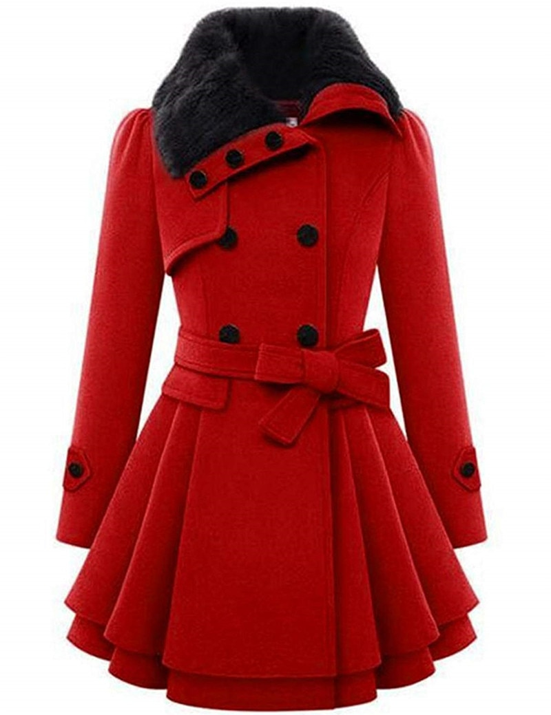 Women's Fashion Faux Fur Lapel Double-Breasted Thick Wool Trench Coat