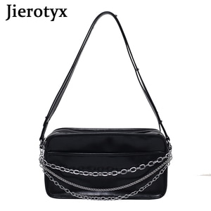 JIEROTYX Soft Leather PU Women Crossbody Bags Casual Square Shape  Chains Female Underarm Single Shoulder Bags Solid Handbags