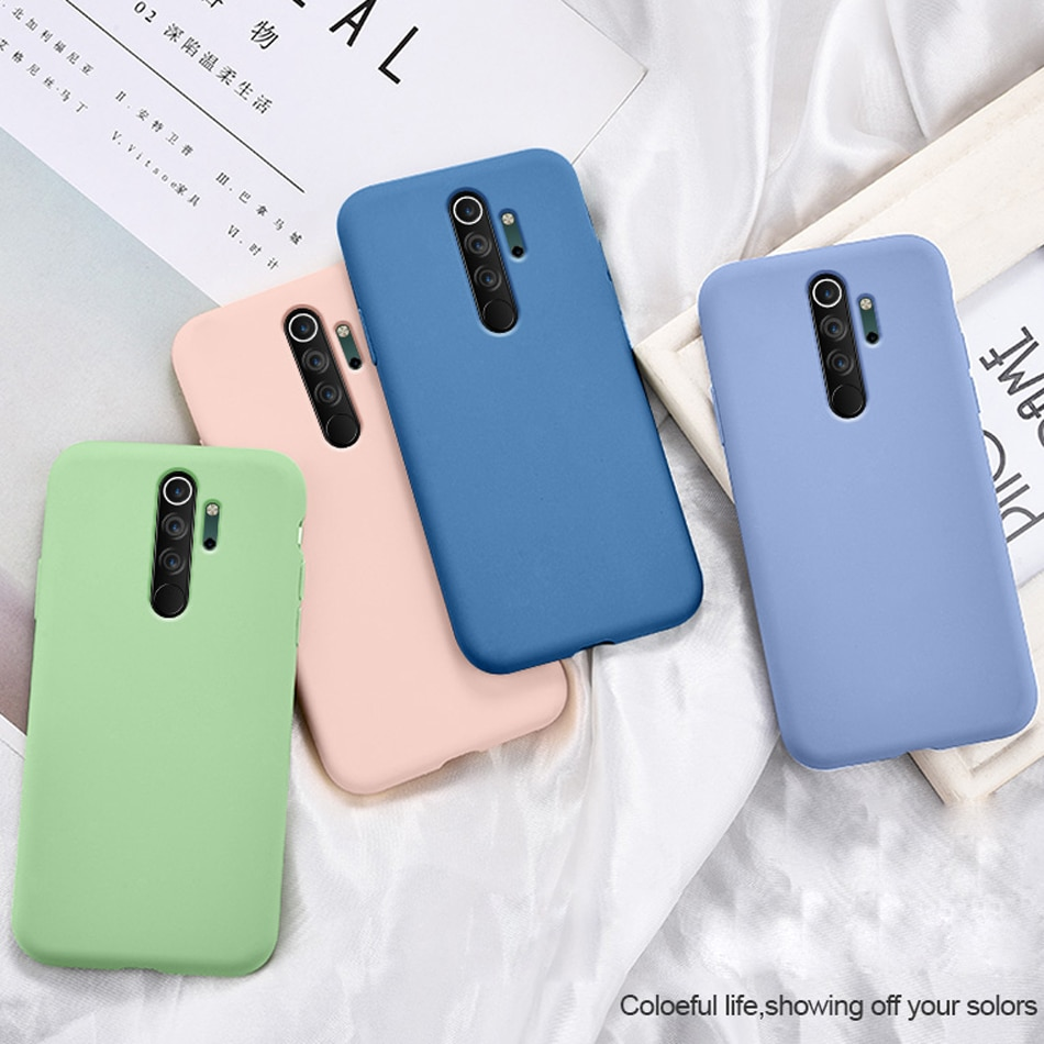 Soft Case for Xiaomi Redmi Note 8 Luxury Original Liquid Silicone Cover for Redmi Note 8 Pro Microfiber Cloth Lining Cushion Bag
