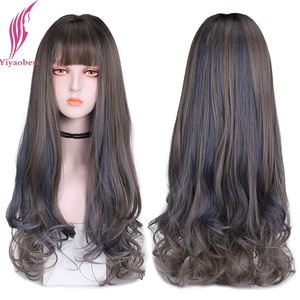 Yiyaobess 26inch Natural Long Wavy Wig With Bangs Blue Linen Grey Highlights Hair Synthetic Wigs For Women Perruque Femme