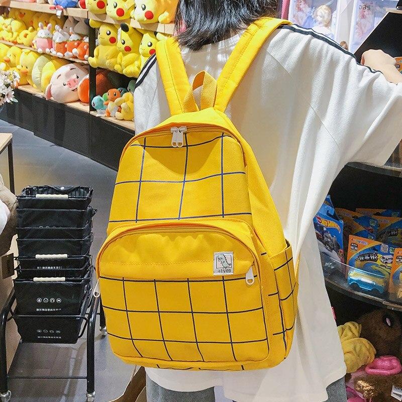 Простой клетчатый студенческий рюкзак женский милый большой вместительный школьный рюкзак с несколькими карманами для путешествий подрос...