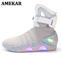 High Top LED Shoes Light Up For Men LED Sneakers USB Recharging Air Shoes Back To The Future Flashin