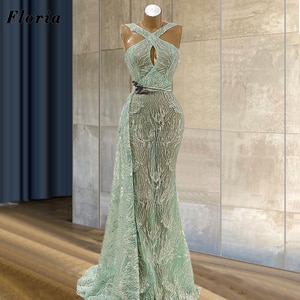 Arabic Mint Green Evening Dress With See Through 2021 Robe De Soiree Dubai Design Couture Glitter Prom Dresses Women Party Gowns