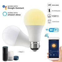 Smart WiFi Light Bulb 15W Dimming Brightness E27 Base E26  B22 LED Bulbs APP Remote Voice Compatible With Alexa Google Home