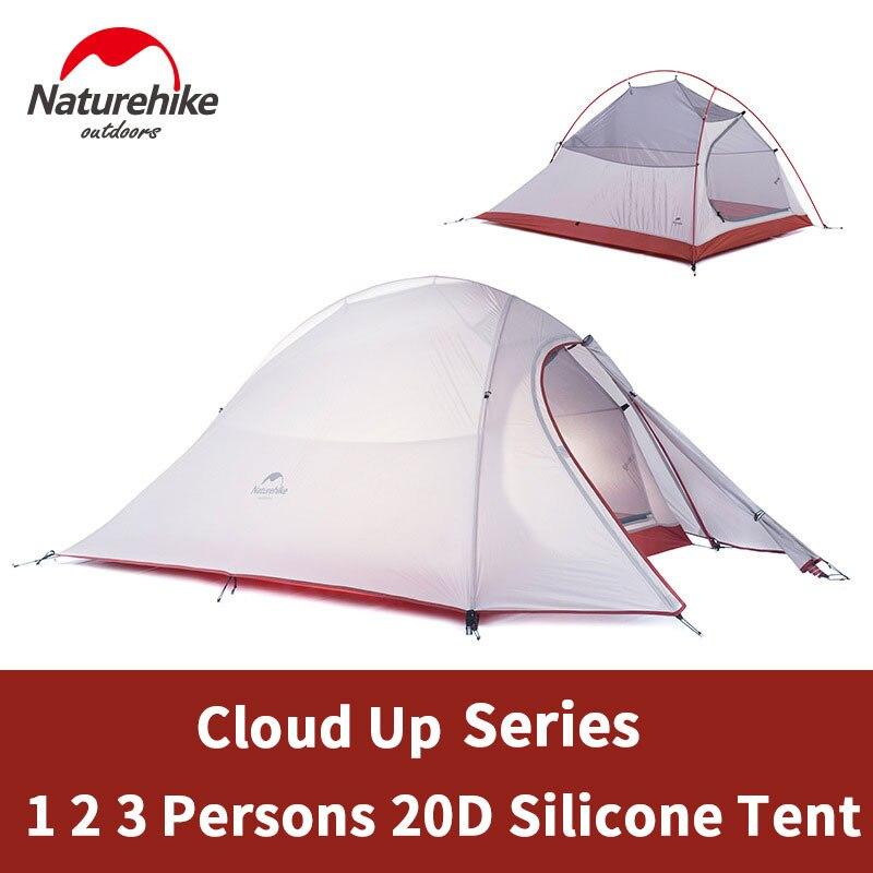 Naturehike Cloud Up 1 2 3 persona tienda de campaña ultraligera equipo de campamento al aire libre 2 hombre viaje invierno tienda de campaña con alfombra