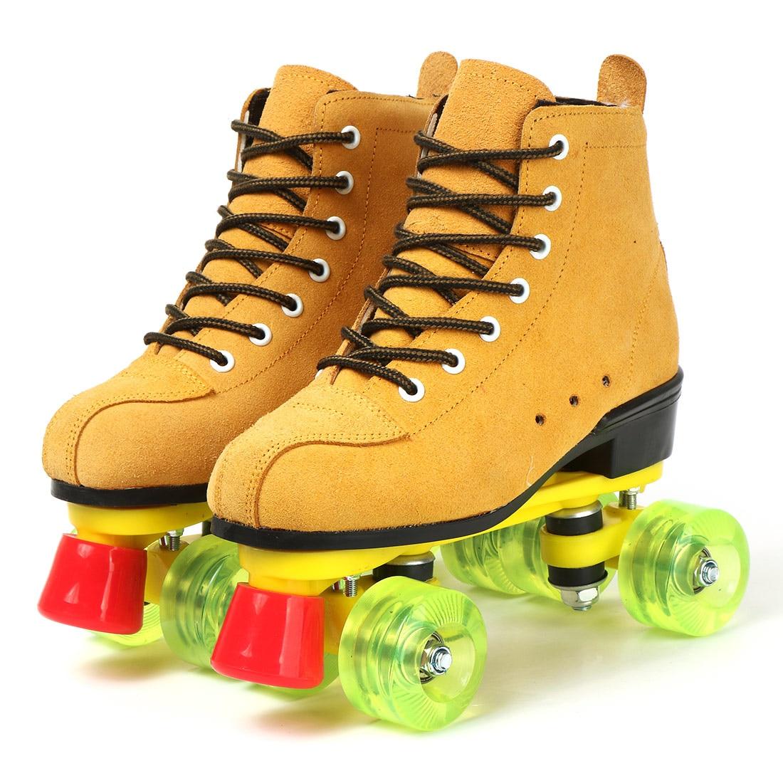 Женские роликовые коньки из искусственной кожи, желтые роликовые коньки с двойной линией, обувь для взрослых с двумя линиями, патины, зелены...