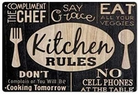 tin sign vintage kitchen rules metal sign bar kitchen restaurant home wall decoration retro 12x16 inch