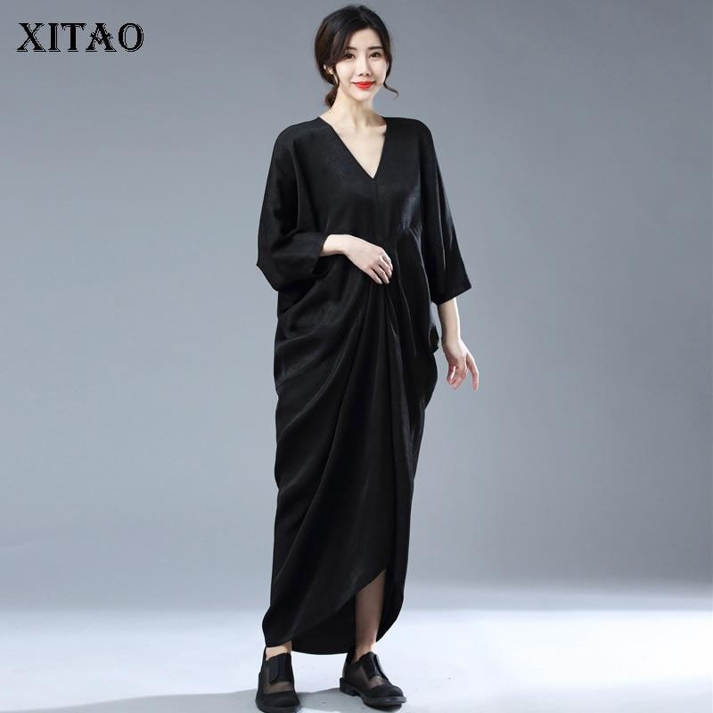 فستان XITAO بلون سادة بأكمام تشبه جناح الخفّاش وياقة على شكل v بتصميم غير رسمي فضفاض وبساطة عصرية للنساء جديد للصيف WMD1475