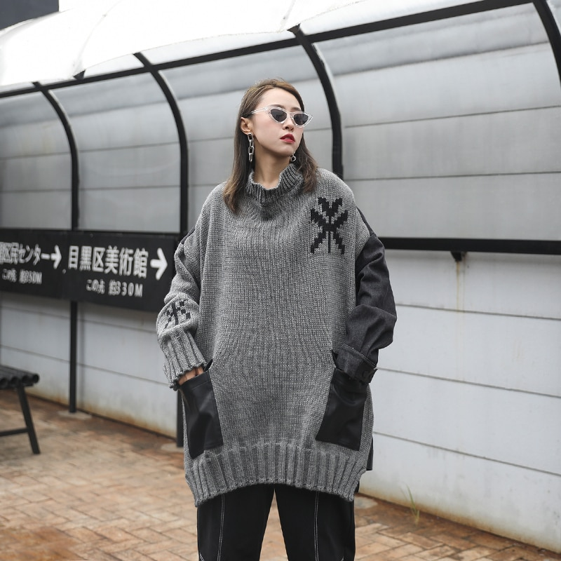 XUXI Autumn Winter 2020 Cocoon Pullover Sweater Women Loose Streetwear Outer Wear Mid-length Stitching Denim Long Sleeve FZ3122 enlarge