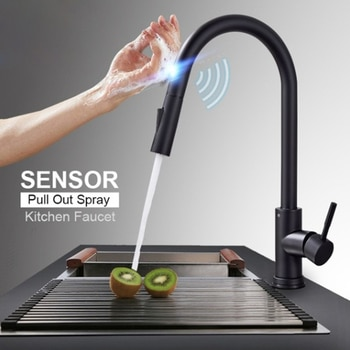 Kitchen touch-sensitive stainless steel faucet basin induction can be drawn type rotating household kitchen hot and cold faucet