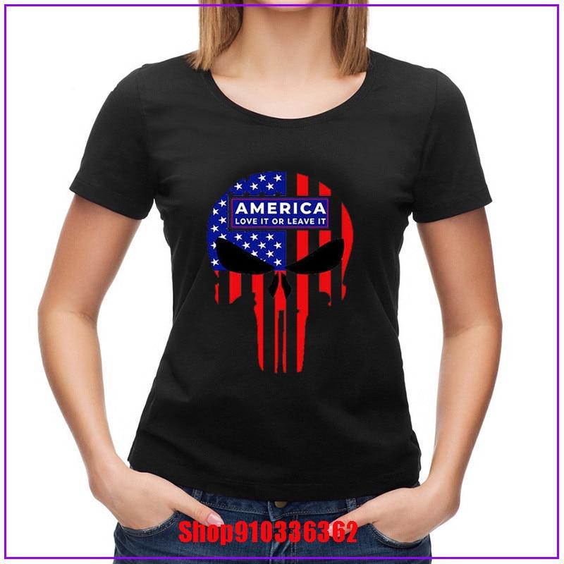 Frete grátis aerxemrbrae bandeira dos eua bandeira de alta qualidade américa punisher diecut decalque trump eua bandeira t shirt feminino