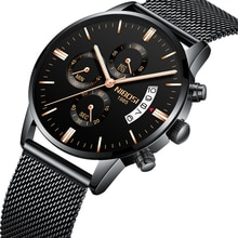 NIBOSI-montre à maille or pour hommes   Top marque de luxe, calendrier lumineux, mains, Relogio Masculino A Prova d gua militaire
