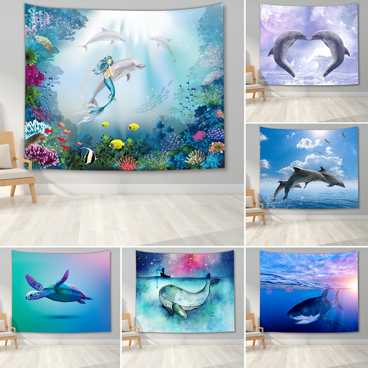 Whale Sea Turtle Azure Ocean Tapestry Fairytale Mermaid Wall Hanging Tapestry for Home Dorm Fantasy Decor Psychedelic Tapestry psychedelic brick dorm decor wall hanging tapestry