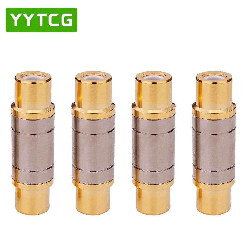 موصل YYTCG RCA محول جاك أنثى مستقيم RCA, مطلي بالذهب