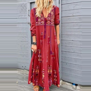 Dress To Knees Dresses Female Long Robe Women Summer Dress new Casual Floral Lace Long Sleeve Plus Size Party Dress Long Dresses