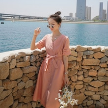 Spot Fashion Comfortable Dress Short Sleeve 2021summer Mid-Length Graceful Personality