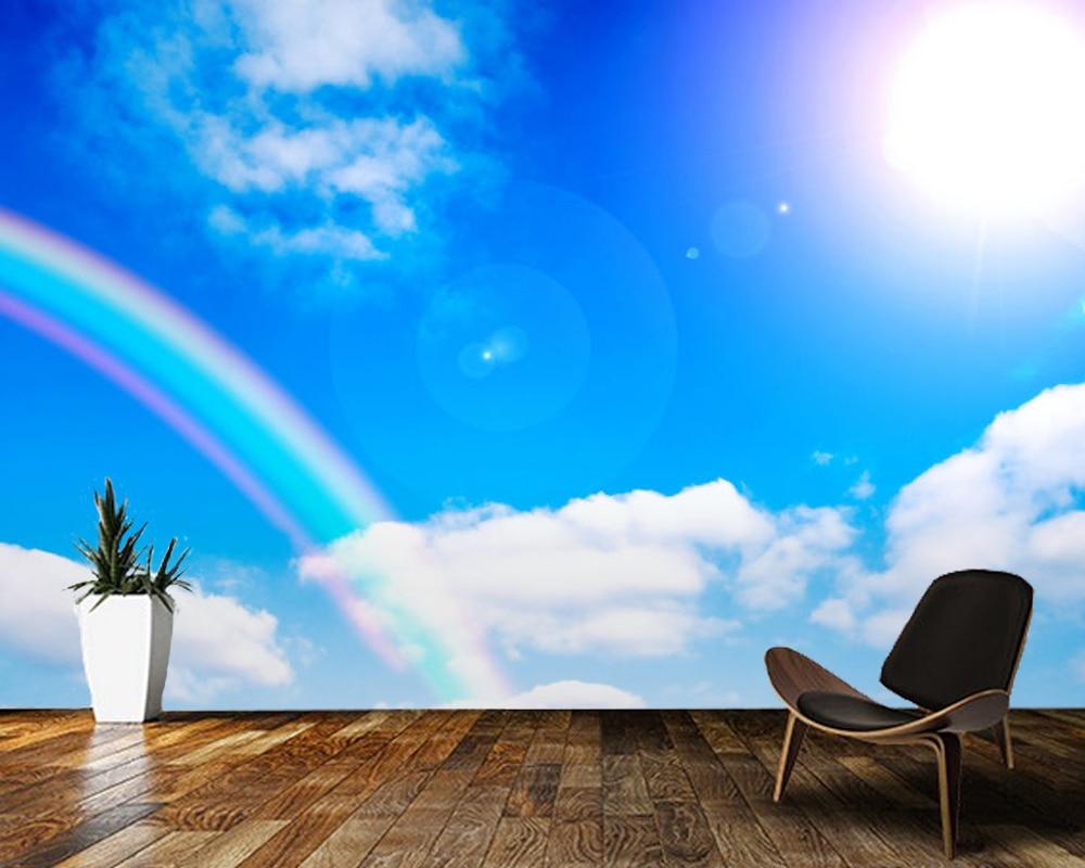 Papel de pared con un arcoíris bajo el cielo, Papel tapiz con paisaje natural en 3d, Papel de pared para sala de estar, dormitorio, techo, cocina, decoración del hogar