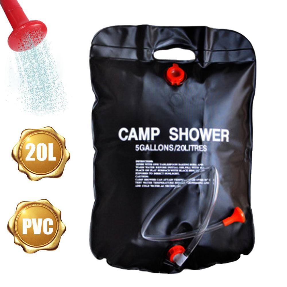 Bolsa de ducha con calefacción Solar de 20L, bolsas para baño portátiles al aire libre, bolsas para viajar, Camping, senderismo, escalada, bolsa de agua para limpieza de mascotas
