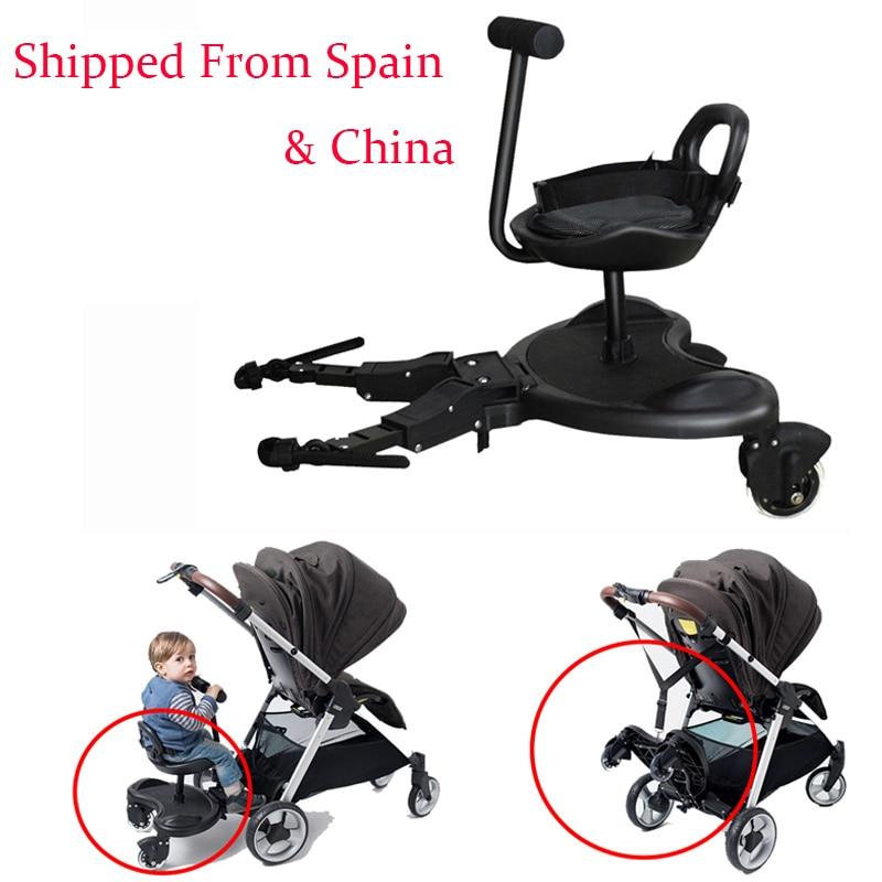 2-in-1 מפנק תאומים עגלת עומד צלחת רוכב באגי לוח אח תינוק עגלת קרוואן אחים דוושת שני ילד חפץ