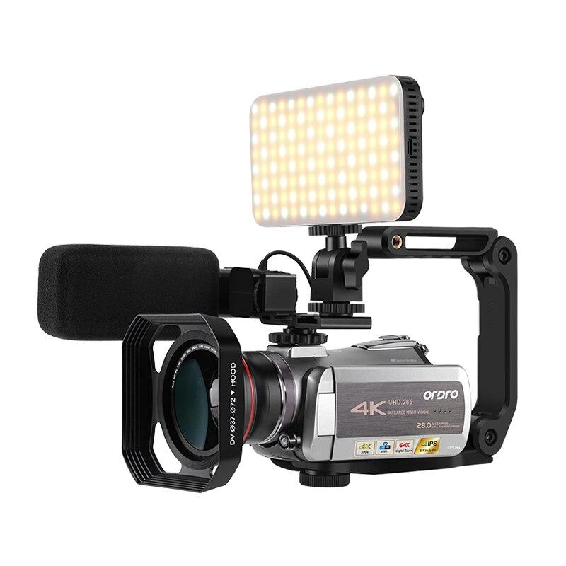 Ordro البث الشبكي IPS شاشة كاميرا فيديو واضح 4K زاوية واسعة مؤتمر الزفاف DV واي فاي الكمبيوتر HDR-AZ50 كاميرات فيديو دعم Mic عدسة