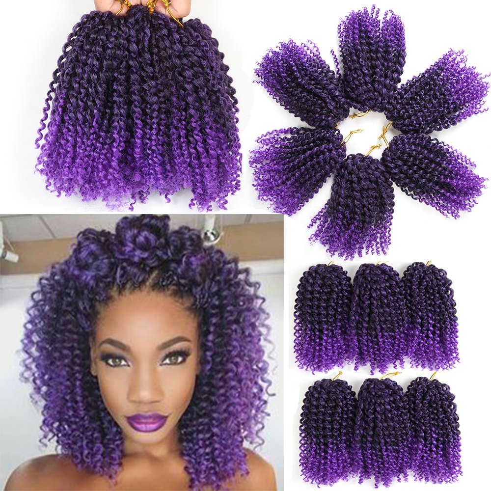 black star Short 8 Marley Hair Marlybob Crochet Braiding Synthetic Jerry Curl Extensions 3pack/set
