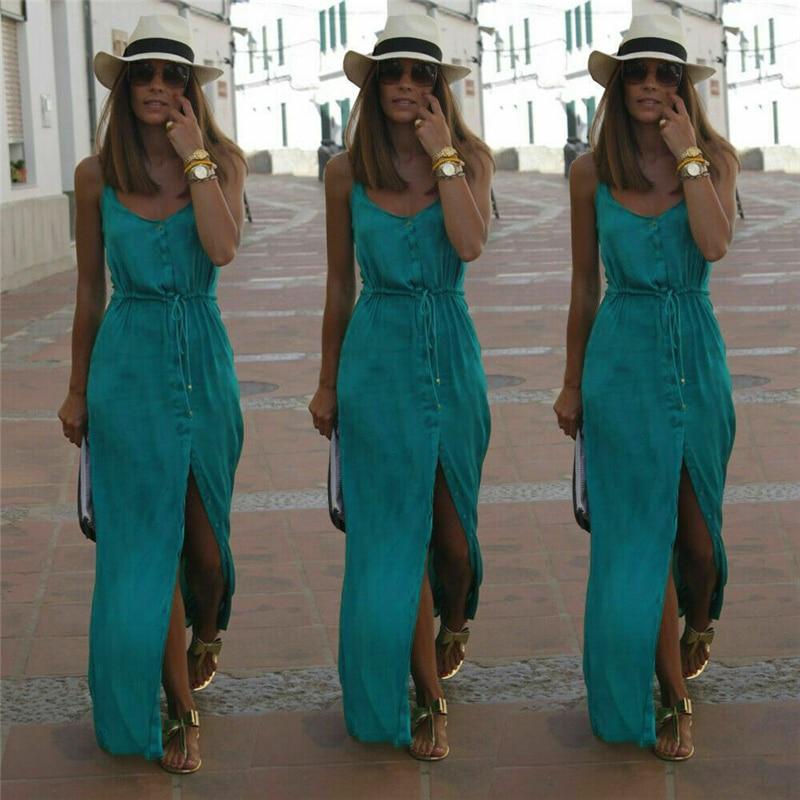2019 Sexy Fashion Party Maxi Dress Women V Neck Sleeveless High Split Strap Slim Long Bodycon Club Summer Dress Vestidos