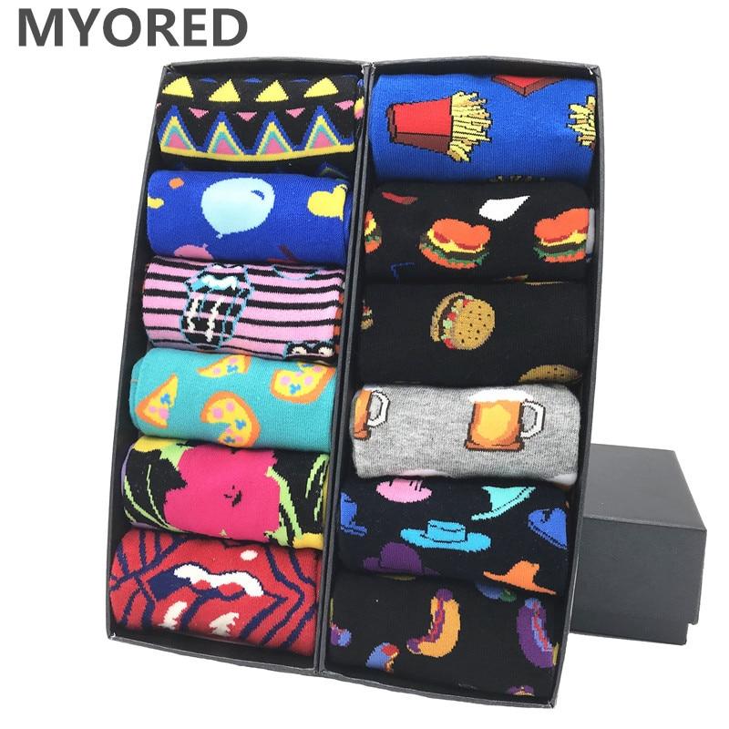 MYORED 12 par/lote calcetines coloridos de vestir para hombres aguacate casual tubo a rayas patrón de cuadros cómodo regalo de fiesta Calcetines clásicos