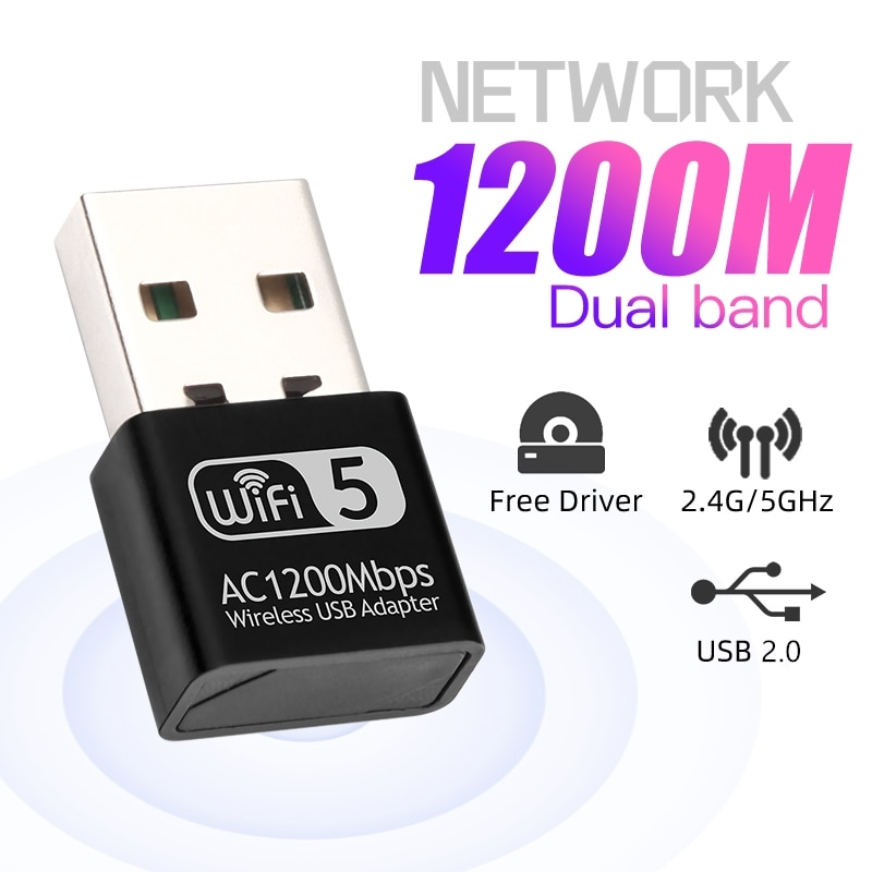 Mini adaptador Wifi USB de red Ethernet de 1200Mbps, adaptador Lan, Dongle,...