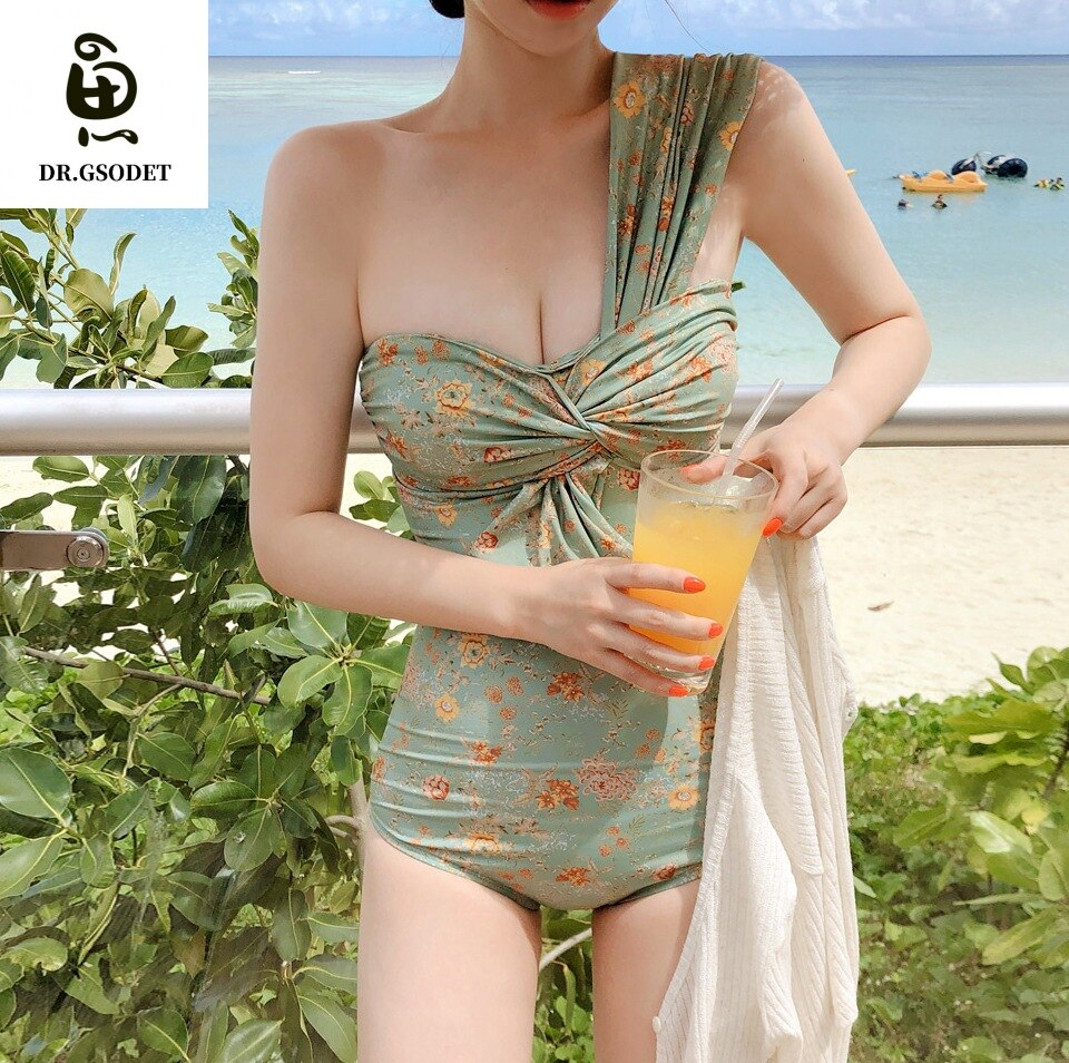 GSODET-bañador Sexy de una pieza para mujer, traje de baño encantador de una pieza, juego de Bikini estilo Push Up Retro Floral, ropa de playa 2021