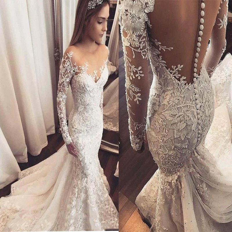 Arabic Long Sleeves Lace Mermaid Wedding Dresses Tulle Appliques Beaded Sweep Train Wedding Bridal Gowns robes de mariée BC1509 недорого