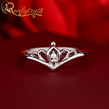 Classic Lab Created Diamond Crown Princess Rings for Women Ring 925 Sterling Silver Opened Wedding E