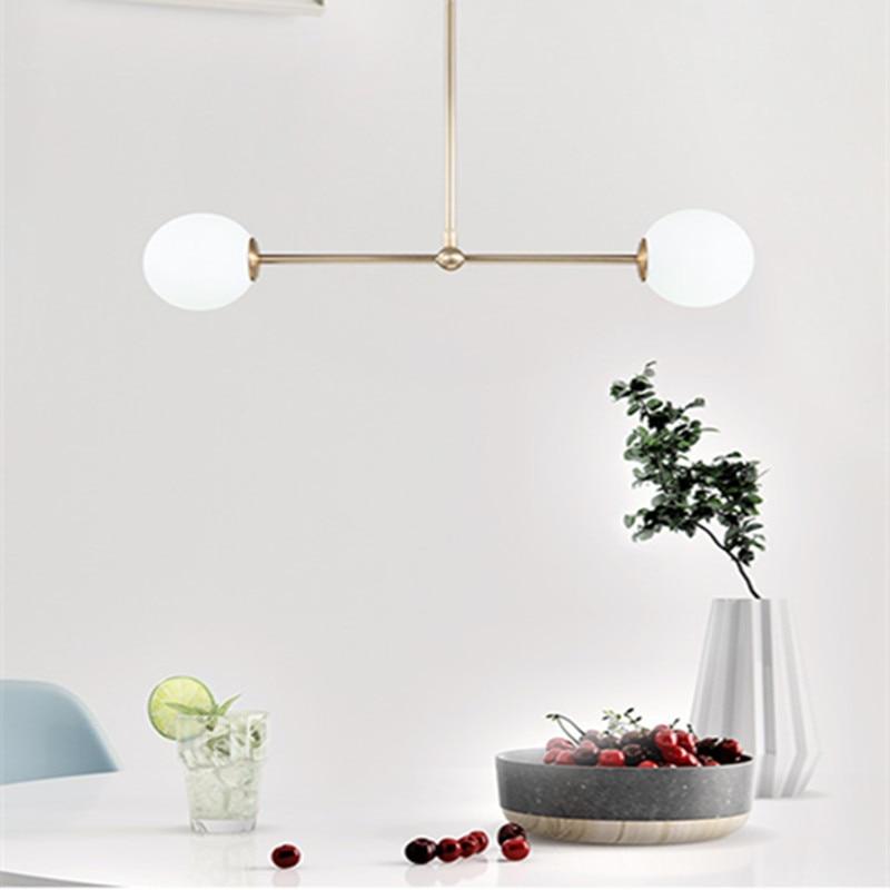 Подвесная лампа в скандинавском стиле, вращающийся стеклянный шар, освещение для столовой, бара, кухни, светодиодные светильники, бесплатна...