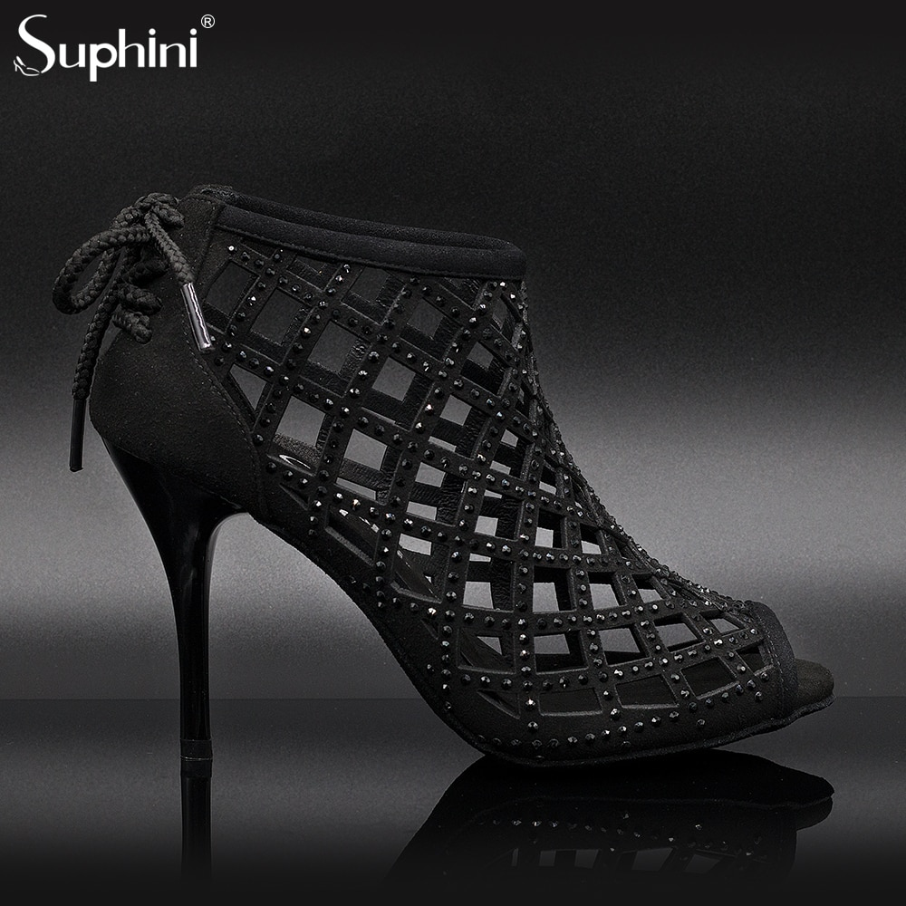 Free Shipping Suphini Black Sexy Dance Boots 9cm Heel Argentina Woman Dance Bootie