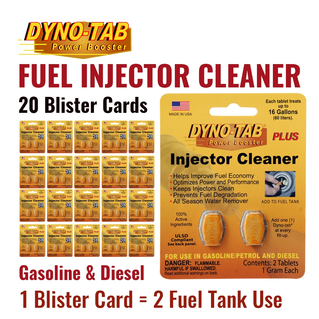 Dyno Tab limpiador para inyectores de combustible gasolina y diésel tratamiento del ahorro económico limpiador de carbono (20 tarjetas blíster)