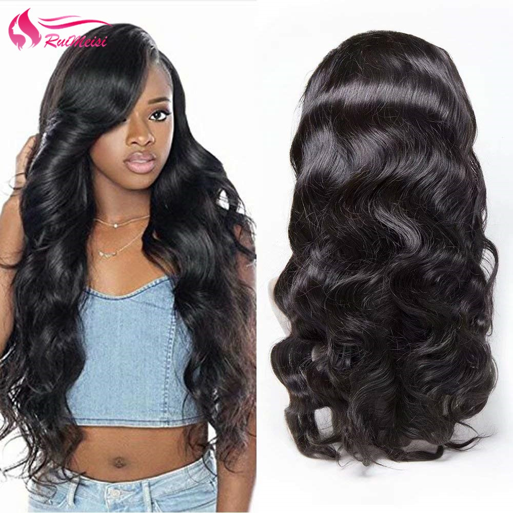 RUIMEISI Body Wave 360 Lace Frontal Wigs 150% Density Body Wave Human Hair Wig with Baby Hair for Black Women Natural Color
