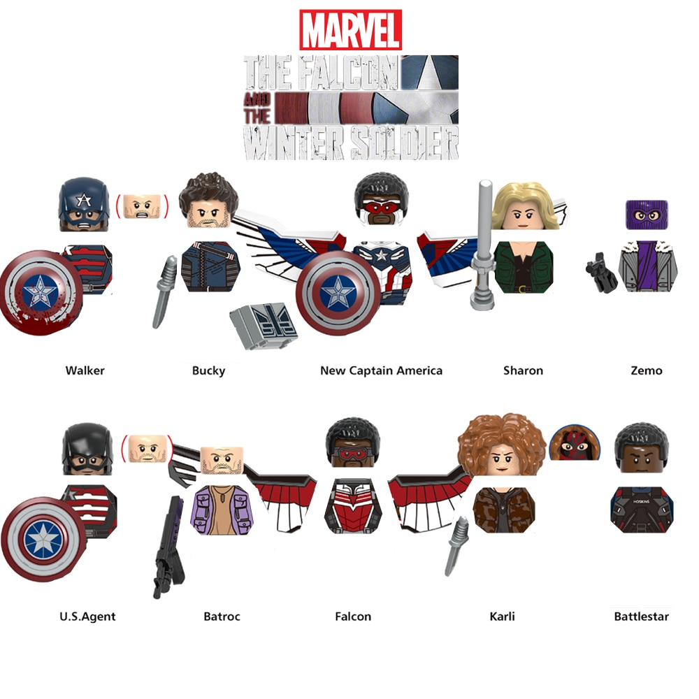 Marvel Мстители Капитан Америка Сокол Зимний Солдат фигурки Sam Bucky Zemo Walker строительные блоки фигурки кирпичи игрушки Детский подарок