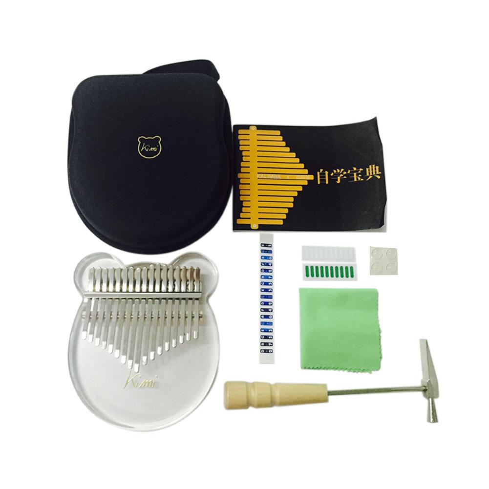 Kimi Kalimba Acrylic 17 Key Transparent Thumb Piano with Tuner Hammer Gig Kalimba Case Manual enlarge