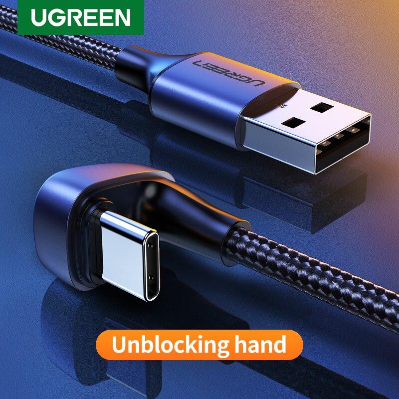 Cable Ugreen 3A USB tipo C para Samsung S10 S9 Plus 180 ° ángulo de carga rápida Cable USB C para Nintendo Switch teléfono móvil Cable USB