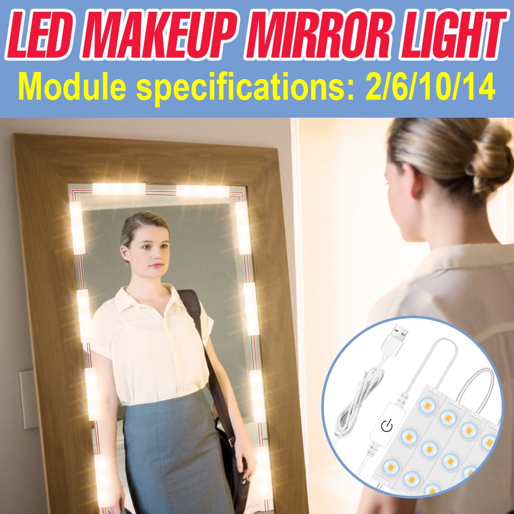 USB Cosmetic Lights LED Makeup Mirror Light 5V Dimmable Wall Lamp 2 6 10 14 LED Hollywood Vanity Lights Makeup Lamp Indoor Bulb