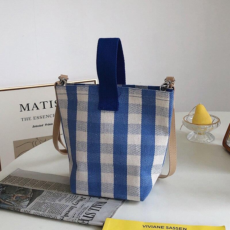 Корейская круговая Водонепроницаемая холщовая сумка-мессенджер модная маленькая клетчатая сумка через плечо в полоску дизайнерские сумки...