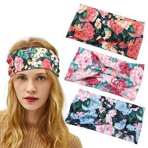 2020 new women's sports headband yoga headband absorbent belt antiperspirant wide-brim printing headscarf headwear
