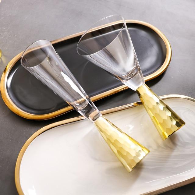 الشمال نمط فاخر مطلية بالذهب الزفاف كأس الشمبانيا الذهبي يتوهم مطعم كوب نبيذ أحمر ضوء الشموع عشاء كأس النبيذ