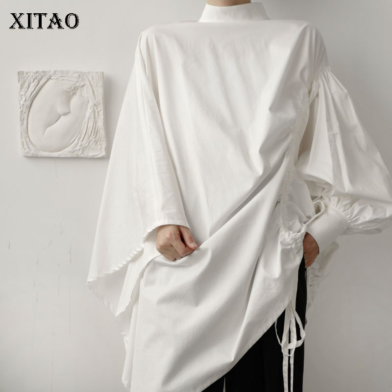 XITAO, blusa blanca con cordón, blusa Irregular para mujeres de talla grande minoritaria, plisada, pequeña fresca, Camisa de manga completa otoño 2020 DZL1505