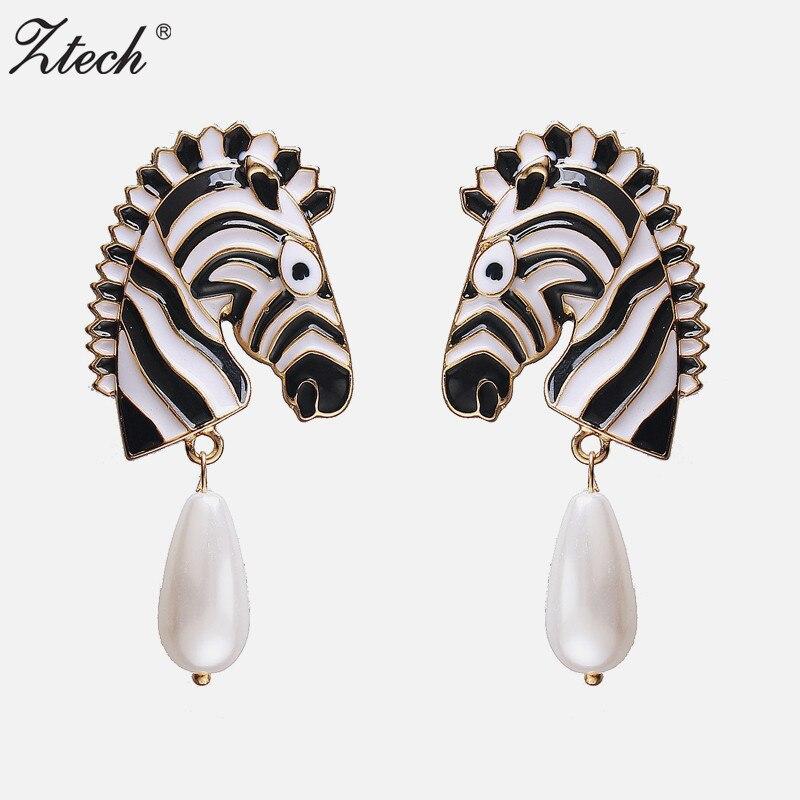 Ztech nuevo diseño de moda encanto aleación pendiente de animal imitación de colgante de perla pendientes vintage con forma de gota para mujer regalo fiesta Bijoux