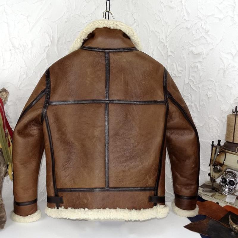 2020 marrón hombres Retro estilo militar B3 bombardero Shearling de talla grande XXXL piel de oveja genuina invierno grueso cálido abrigo de aviador