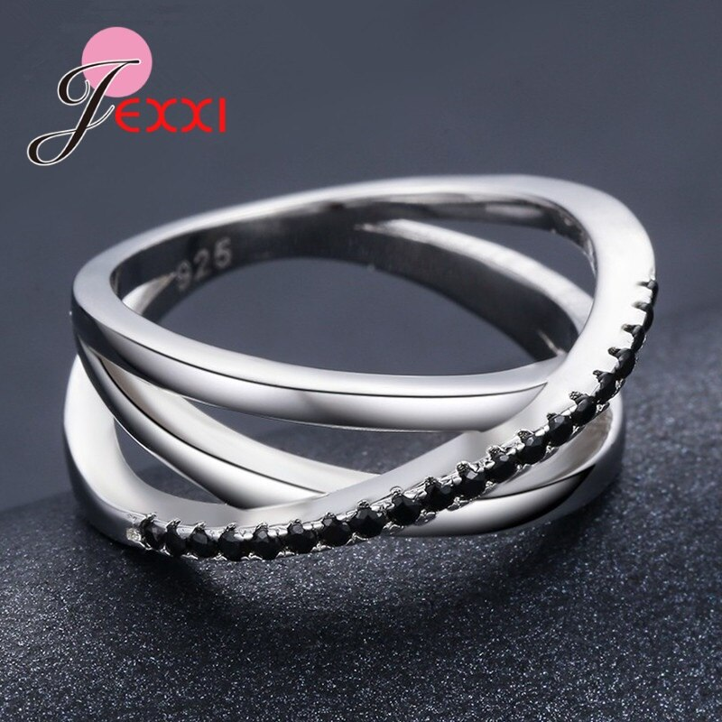 Original 925 Sterling Silver Shinning Black CZ Crystal Finger Ring For Women New Fashion Engagement Wedding Statement Jewelry
