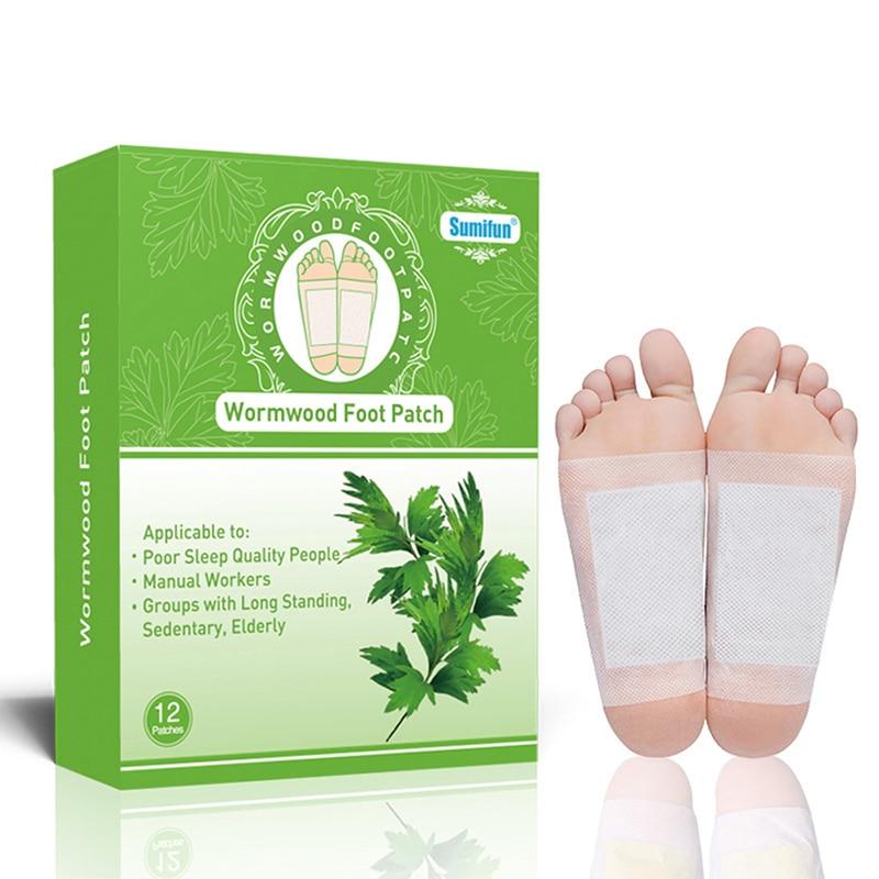 12pcs/box Wormwood Health Body Detox Foot Patch Effective Improve Sleep Organic Detox Beauty Slimmin