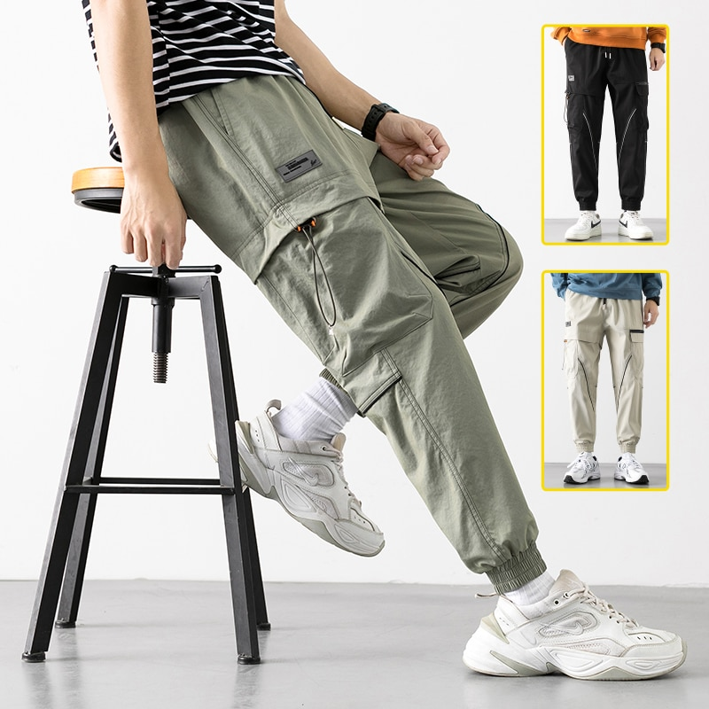Men's Trend Cargo Pants Hip Hop Wild Loose Male Drawstring Trousers korean Style Fashion Casual High