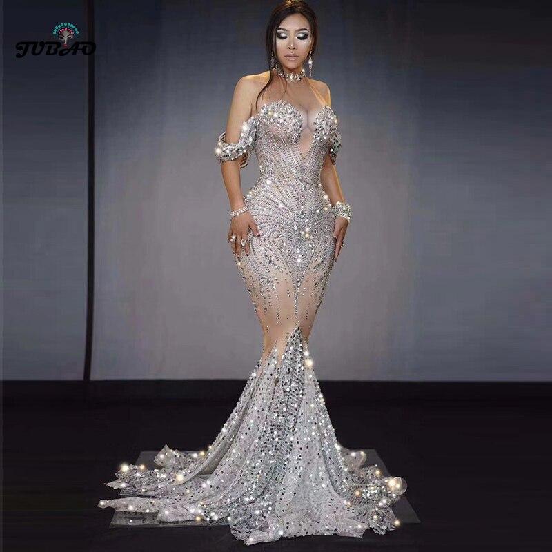 Brillantes Diamante de imitación vestido maxi vestido sirena plata trajes sexy de cumpleaños de las mujeres de lujo noche diseñador de fiestas trajes de drag queen